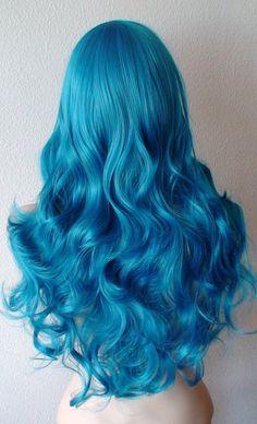 Teal blue wig. Long curly volume hair long side bangs by kekeshop
