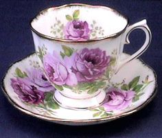 Royal Albert American Beauty Teacup & saucer - the color is actually a pin k though it looks purple in this picture Tea Cup Set, My Cup Of Tea, Tea Cup Saucer, Tea Sets, Vintage Cups, Vintage Dishes, Vintage China, China Tea Cups, Teapots And Cups