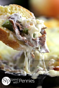 Hot Cheesy Philly Cheesesteak Dip - Page 2 of 2 - Two Divas on Fan Favorite Recipes Whole Food Recipes, Great Recipes, Cooking Recipes, Favorite Recipes, Philly Cheese Steak Dip, Salsa, Snacks, Appetizer Recipes, Party Appetizers