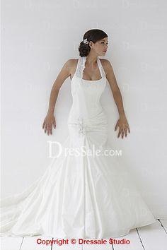 Fantastic Mermaid Style Wedding Gown, Tulle Halter Neckline