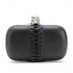 Alexander McQueen - Skull Lace Up Trimmed Leather Box Clutch