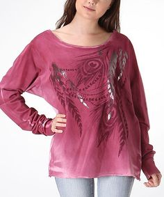 Love this Cherry Peacock Feather Dolman Top on #zulily! #zulilyfinds