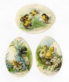 3 EASTER EGG Die Cuts - Victorian 1880's - Baby Chicks and Flowers - Eggs