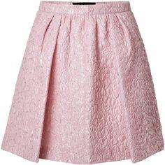 Giambattista Valli Cloqué Flared Skirt (755 BAM) ❤ liked on Polyvore featuring skirts, bottoms, faldas, saia, pink, circle skirt, pink skirt, pink circle skirt, pink pleated skirt and flared skirt