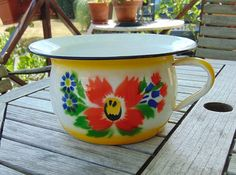 vintage 1960's French enamel chamber pot by lesarmoire on Etsy