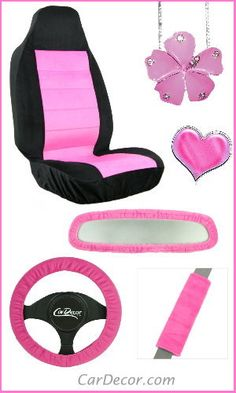 Decorate your car with a set of coordinating girly pink accessories from CarDecor.com.