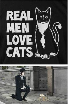 Sebastian , becasause, real man love cats, black butler, kuroshitsuji
