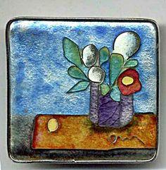 """""""Stillleben"""", Kupfer, Silberfolie, Cloisonné geschliffen, Rahmenfassung silber, ca. 4 x 4 cm"""