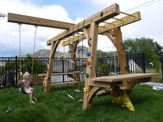 We build play structure with WRC(Western Red Cedar) Structure were connected with monkey bar that is leaned to be stabilized. One long beam on top is notch