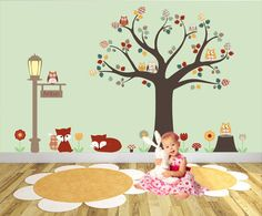 http://www.ruggabub.com.au/unique-baby-products/foxes-and-owls-woodland-nursery-wall-art-stickers-peronalised/ Foxes and Owls Woodland Nursery Wall Art Stickers - Peronalised
