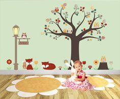 http://www.ruggabub.com.au/unique-baby-products/foxes-and-owls-woodland-nursery-wall-art-stickers-peronalised/ Foxes and Owls Woodland Nursery Wall Art Stickers - Peronalised