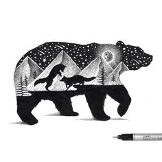 Beautiful Double Exposure Illustrations Made Using Thousands Of Tiny Dots