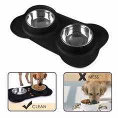 2017 Newest production Silicone pet bowl with two stainless steel bowls made in CHINA