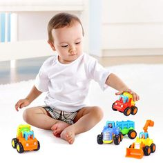 Friction Powered Cars Push and Go Car Construction Vehicles Toys Set of 4 Tractor,Bulldozer,Cement Mixer Truck,Dumper Push Back Cartoon Play for 2 3 Years Old Boys Toddlers Kids Gift Cement Mixer Truck, 3 Years Old Baby, Toys For 1 Year Old, Go Car, Power Cars, Baby Hands, Toy Trucks, Old Boys, Baby Toys