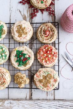 Easy Slice 'n' Bake Vanilla Bean Christmas Sugar Cookies w/whipped buttercream frosting. Delicious and easy all in the same cookie from halfbakedharvest.com