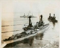 HMS Indefatigable, HMAS Australia and HMS New Zealand - the second class of British 12 in battlecruisers after the 'Invincibles'.  Australia missed the Battle of Jutland in May 1916 due to an earlier collision with her sister New Zealand, which fired more main armament shells than any other capital ship.  Indefatigable was the first ship sunk.