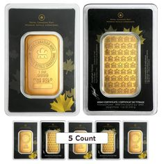 Lot of 5 - 1 oz Royal Canadian Mint RCM Gold Bar .9999 Fine (In Assay) | Bullion Exchanges