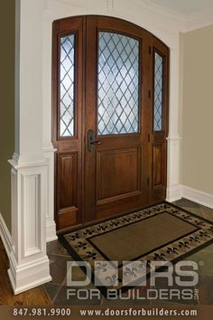 Entry Door in-Stock - Single with 2 Sidelites - Solid Wood with Walnut Finish, FrenchCollection, Model DB-552WDG 2SL