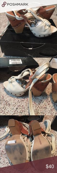 Miss Sixty Really cute wrap around Miss Sixty chunky heels. Real leather worn once. Miss Sixty Shoes Heels