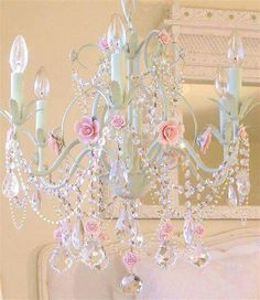 ❤️ Shabby chic chandelier. White painted chandelier with pink roses, strings of crystals, & hanging crystals