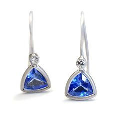 Tanzanite Diamond Earrings, Something Blue, Diamond Earrings, Tanzanite Earrings, Drop Earrings, Trillion Cut, White Gold Earrings, Nixin