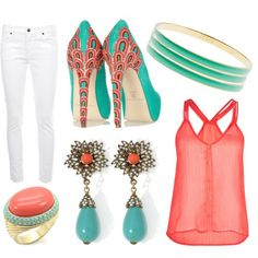 Teal and Coral Outfit