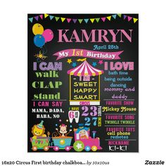 Circus First Birthday, Girl Birthday, Carnival Birthday, Birthday Celebration, Birthday Ideas, Circus Carnival Party, First Birthday Chalkboard, Chalkboard Poster, Party Signs