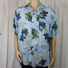 Caribbean Joe Let Go Blue Hawaiian Shirt Blue Flowers Green Leaves Aloha #CaribbeanJoe #Hawaiian