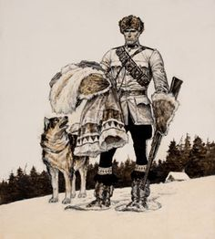 He always got his man - Mountie Illustrations - Tweed Museum of Art Courageous People, Sled Dogs, Baseball Art, Quirky Art, Canada Eh, Canadian History, Cowboys And Indians, Le Far West, Mountain Man