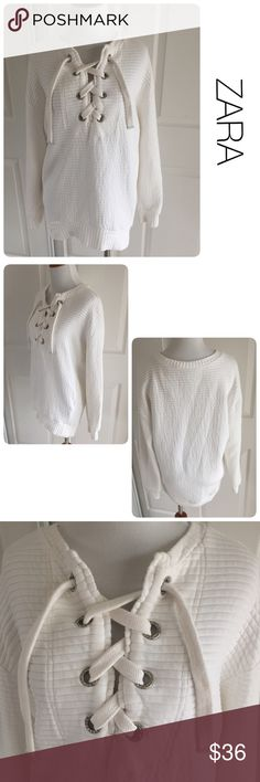 ZARA white lace up sweatshirt M ♦️Excellent condition. No holes, stains or piling.                                                     ♦️Material tag missing but likely rayon spandex blend                          ♦️Measurements:                                  ♦️Laying flat armpit to armpit: approximately 19 inches                                                  ♦️Laying flat from the back of the neck to the bottom of the front hem is approximately 29inches Zara Tops Sweatshirts & Hoodies
