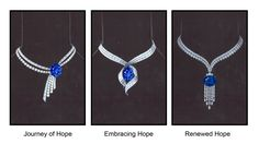 Hope Diamond new setting three choices- the center choice embracing Hope is the one that the diamond is presently set in Hope Diamond, Diamond Rings, Graff Jewelry, Jewelry Necklaces, Jewellery, Blue Necklace, Tassel Necklace, Best Settings, Jewelry Drawing
