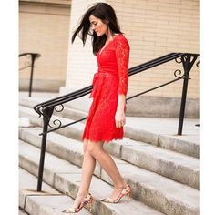 Sarah Vickers of Classy Girls Wear Pearls in red lace DVF dress, March 2015
