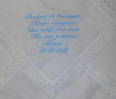 Zakdoekje voor moeders. bruiloft. http://www.bruiloftzakdoekje.nl