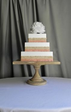 Cake Stand 14  Square Rustic Wooden Pedestal Vintage Beach Decor Wedding By E. Isabella & Cake Stand Plate 16