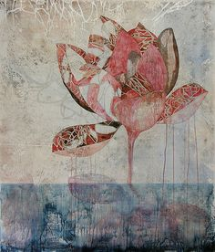 Belinda Fox, Title: Satellite IV, 2012. Medium: Watercolour, drawing and encaustic on board. Size: 140 x 120cm