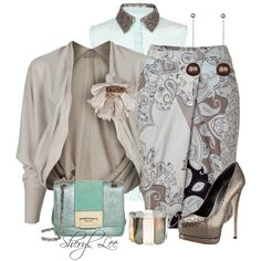 Mint and Taupe, created by sheryl-lee on Polyvore