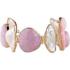 Pre-owned Tara Pearls 14K Pearl Bracelet ($1,045) ❤ liked on Polyvore featuring jewelry, bracelets, 14 karat gold bangles, 14k bangle, pink pearl jewelry, pink jewelry and tara pearls