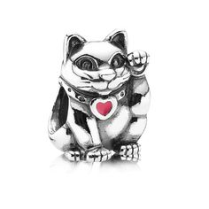Pandora Lucky Cat Charm with Red Enamel in 925 Sterling Silver, 790989EN05 - Designers Palace