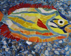 Ceramic mosaic art with fish ornament nautical bathroom wall Mosaic Wall Art, Mosaic Glass, Stained Glass, Glass Art, Sea Illustration, Fish Ornaments, Nautical Wall Decor, Nautical Bathrooms, Floral Wall Art