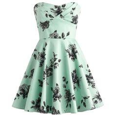 Dress: vintage roses black roses mint mint floral strapless black... ❤ liked on Polyvore featuring dresses, bohemian dress, floral dress, graduation dresses, sexy dresses and sexy short dresses