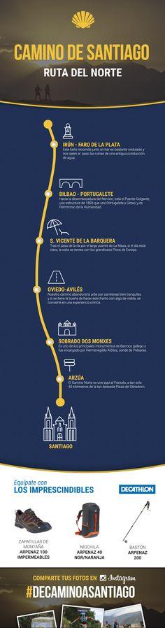 #infografía del Camino de Santiago - Ruta del Norte. #DeCaminoaSantiago