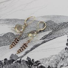 gold fern leaf and quartz earrings | rustjewellery.com