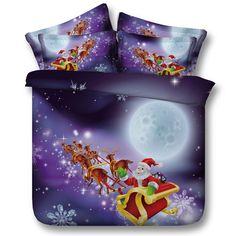 100% Cotton Cartoon 3/4PC Bedding Sets Merry Christmas Gift Santa Claus Bedclothes Duvet Cover Bed Sheet Pillowcases