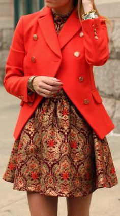 Jacquard Skater Dress and Red blazer Fashion.... Love that fabric (dress)