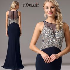 Vestido de Noche Largo Con Piedritas Azul Oscuro (36161105) - EUR 169,99