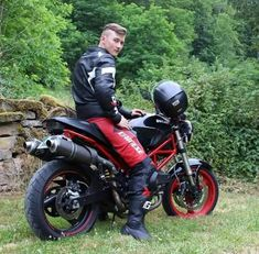 A collection of Guys In Sport Biker Leathers Motorcycle Suit, Motorcycle Leather, Biker Leather, Leather Men, Motorbike Leathers, Black Leather Bomber Jacket, Riders On The Storm, Biker Boys, Biker Gear