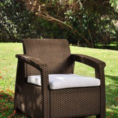 Get this Keter Corfu Wicker Brown Chair, which is extremely comfortable wicker chair with a cushion that would look perfect for your outdoor patio space. Mykonos Greece, Crete Greece, Athens Greece, Santorini, Wicker Patio Furniture Sets, Outdoor Chairs, Outdoor Decor, Patio Seating, Construction Design