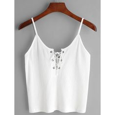 White Ribbed Lace Up Cami Top ($11) ❤ liked on Polyvore featuring tops, white, white singlet, summer tanks, white vest, white ribbed tank and summer vest