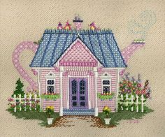 1082 Whimsey House Teapot needlepoint by Just Libby (Sturdy) Designs