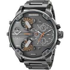 Crafted with gunmetal, this highly functional chronograph timepieces features a three time zone design and date display at the 3 o'clock position. This masculine looking watch is powered by a quartz m